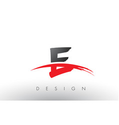 E brush logo letters with red and black swoosh vector