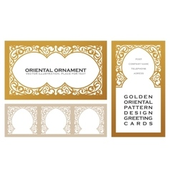 Eastern set gold line frames for design template vector