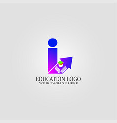 Education logo template with i letter logo vector