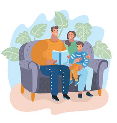 family mom dad and daughter reading story book vector image