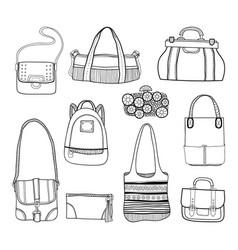 fashionable handbags black and white vector image