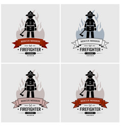 fireman logo design artwork of fire station or vector image