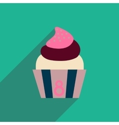Flat icon with long shadow cream cake vector