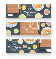 flat kitchen table for cooking in house banners vector image