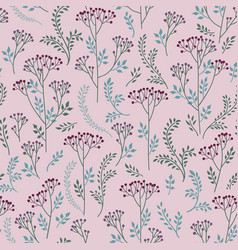 floral tile pattern leaves berries and flowers vector image