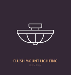Flush mount lamp flat line icon home lighting vector