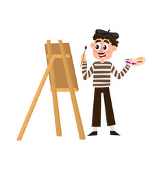 French painter artist in striped shirt and beret vector