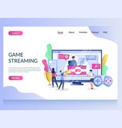game streaming website landing page design vector image