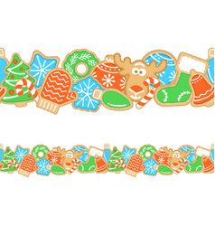 gingerbread christmas cookies seamless border vector image
