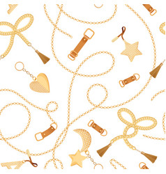 Golden chains straps and charms seamless pattern vector