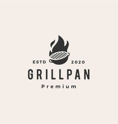grill pan fire flame hipster vintage logo icon vector image