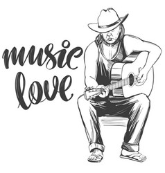 Guitarist plays guitar love music calligraphy vector
