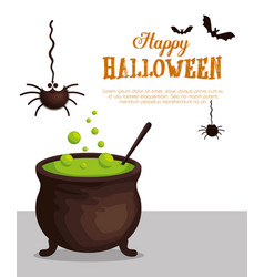 halloween card with cauldron vector image