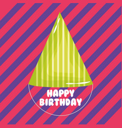 happy birthday card with party hat and stripes vector image