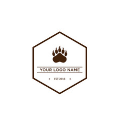 hexagon vintage style logo pet and animal vector image