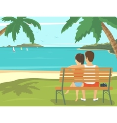 Honeymoon couple outdoors in the beach vector image