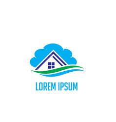 house cloud business construction logo vector image