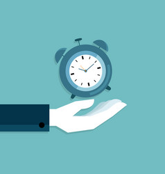 human hand holding alarm clock flat design vector image