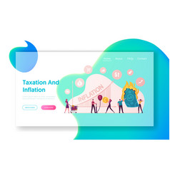 Inflation landing page template finance market vector