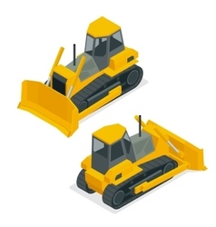 isometric dozer or bulldozer set the vector image