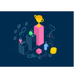 isometric team success and teamwork in outline vector image