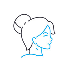 lady hairstyle thin line stroke icon lady vector image