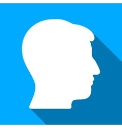 Man Head Flat Long Shadow Square Icon vector image