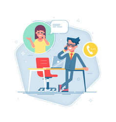 man standing and talking on phone with a woman vector image