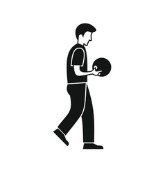 man throws a bowling ball vector image