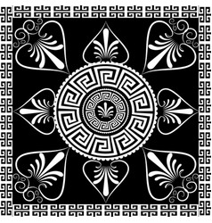 Mandala ancient greek key meander circle pattern vector