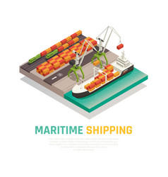 Maritime shipping isometric composition vector