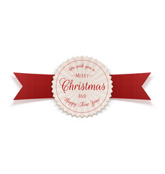 Merry christmas greeting circle badge vector