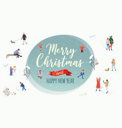 merry christmas winter outdoor activities vector image