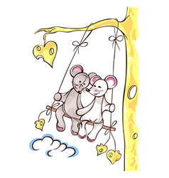Mice lovely girl and boy swing on swing swing vector