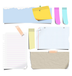 notebook sheets or note papers and bookmarks vector image