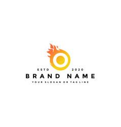 O letter logo fire design vector