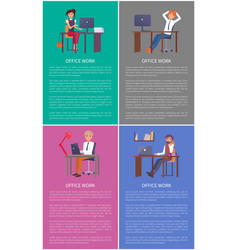 office work banners set men women working tables vector image