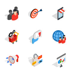 online shopping icons isometric 3d style vector image