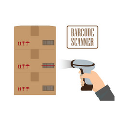 Operator hand holding scanner doing scan a box vector