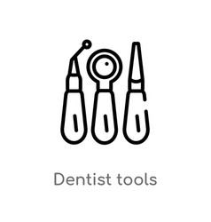 outline dentist tools icon isolated black simple vector image