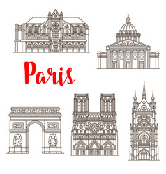 Paris famous landmarks buildings icons vector