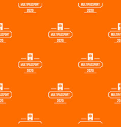 passport pattern orange vector image