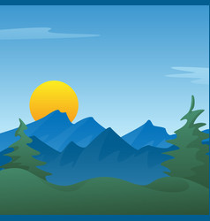 peaceful blue mountain landscape scene vector image