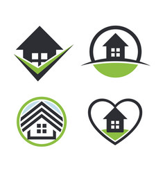 Real estate logo sethouse rent icon sweet home vector