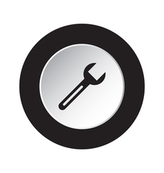 round black and white button - spanner icon vector image