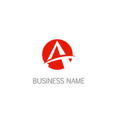 round letter a initial logo vector image
