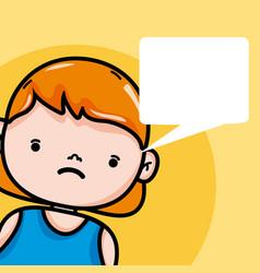 Sad girl with blank bubble speech vector