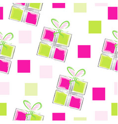 seamless pattern with gift boxes and square vector image