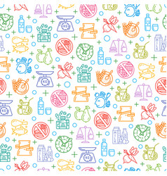 seamless pattern with healthy diet icons vector image