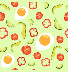 Seamless pattern with vegetables and eggs vector